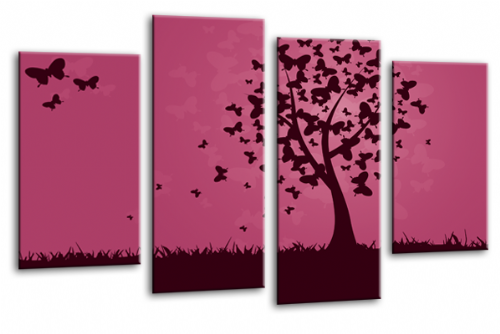 Abstract Floral Black Purple Butterfly Tree Landscape Wall Art